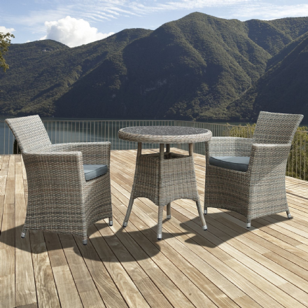 Eden Rattan 2 Seater Bistro Dining Set in Chic Walnut with Granite Effect Glass